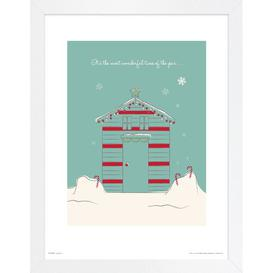 image-Christmas Hut Wonderful' Framed Graphic Art Print East Urban Home Size: 70cm H x 50cm W x 1.5cm D, Format: Oak Framed