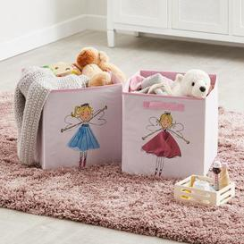 image-Fairies Twin Pack Storage Boxes Blue, Yellow and Pink