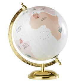 image-Golden Metal Pink World Map Globe