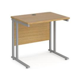 image-Value Line Deluxe C-Leg Narrow Rectangular Desk (Silver Legs), 80wx60dx73h (cm), Oak