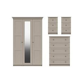 image-Reid 4 Piece Part Assembled Package - 3 Door Mirrored Wardrobe, 5 Drawer Chest And 2 Bedside Cabinets