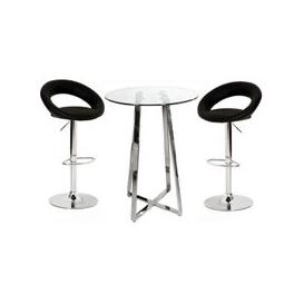 image-Poseur Glass Top Bar Table with 4 Leoni Black Bar Stools