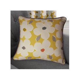 image-Aura Ochre Floral Cushion Ochre