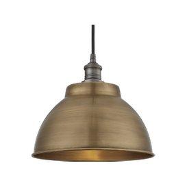 image-Industville Brooklyn Outdoor & Bathroom Dome Pendant - 13 Inch - Brass / Pewter / Globe