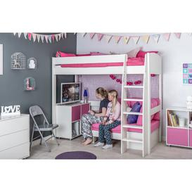 image-Kool European Single (90 x 200cm) High Sleeper Bed Stompa Colour (Fabric/Accessory): Pink