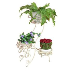 image-Flower Plant Stand Marlow Home Co. Colour: Wiped white/Gold