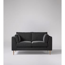 image-Swoon Nero Two-Seater Sofa in Anthracite Smart Wool With Light Feet