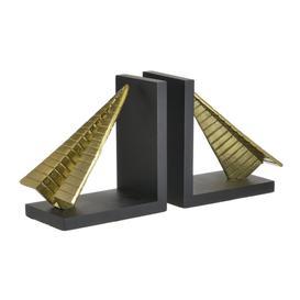 image-S/2 METAL BOOKEND PAPER PLANE BLACK/GOLDEN 36X14X18