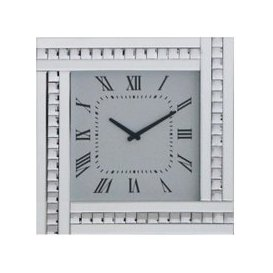 image-Marbella Modern Mirrored Glass Square Wall Clock In Silver