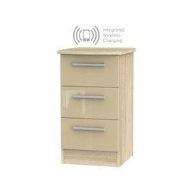 image-Knightsbridge 3 Drawer Bedside Cabinet with Integrated Wireless Charging - High Gloss Mushroom and Bardolino