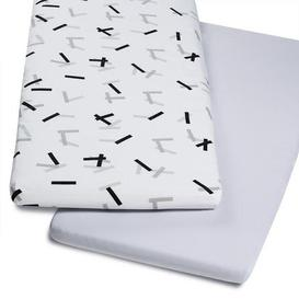 image-Snuz Crib Pack of Two Geo Mono White Fitted Sheets Grey