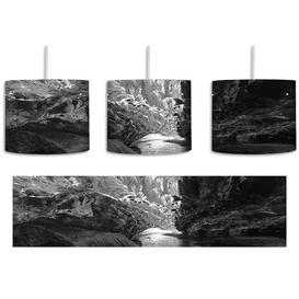 image-Abstract Icy Landscape 1-Light Drum Pendant East Urban Home Shade Colour: Black/White
