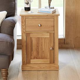 image-Fornatic Wooden Lamp Table In Mobel Oak With 1 Door 1 Drawer