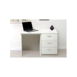 image-Small Office Desk Set With 3 Media Drawers (White)