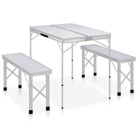 image-Zarmayr Folding Aluminium Camping Table Dakota Fields Table Top Colour: Grey