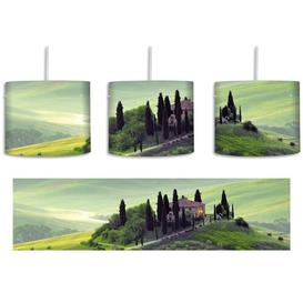 image-Beautiful Tuscan Landscape 1 Light Drum Pendant East Urban Home Shade colour: Green