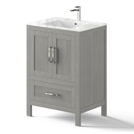 image-Seyler 600mm Free-standing Single Vanity Unit Brayden Studio Vanity Unit Colour: Light Grey