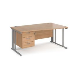 image-Value Line Deluxe Cable Managed Right Hand Wave Desk 3 Drawers (Silver Legs), 160wx80/99dx73h (cm), Beech, Free Standard Delivery
