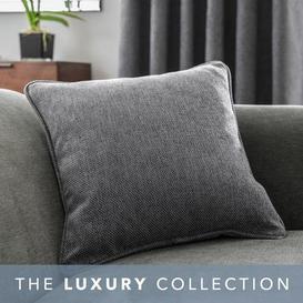 image-Oxford Grey Chenille Cushion Grey
