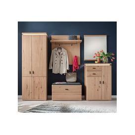 image-Barcelona LED Hallway Furniture Set In Planked Oak With Wardrobe