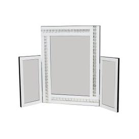 image-Elena Dressing Table Mirror In White With Acrylic Crystal Detail