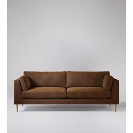 image-Swoon Nero Four-Seater Sofa in Tan Smart Leather With Light Feet