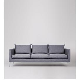 image-Swoon Catalan Three-Seater Sofa in Anthracite Smart Wool With Silver Feet