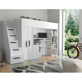 image-Farrar European Single Loft Bed Isabelle & Max Bed frame colour: White/Grey