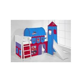 image-IDA Spiderman Children Bed In White With Tower And Curtains