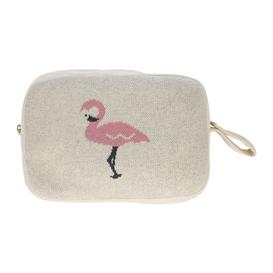 image-Retreat - Kids Knitted Travel Pouch With Blanket - Flamingo