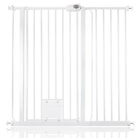 image-Maxen Safety Gate with Lockable Cat Flap Archie & Oscar Finish: White, Size: 104 cm H x 121.4cm W