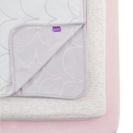 image-Snuz Three Piece Bedside Crib Pink Bedding Set Pink