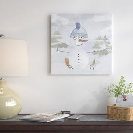 image-'Winter Wonderland Christmas Snowman & Friends' by Grab My Art - Wrapped Canvas Graphic Art Print East Urban Home Size: 51 cm H x 51 cm W x 4 cm D
