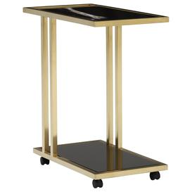 image-Tray Marble Accent Table, Sahara Noir