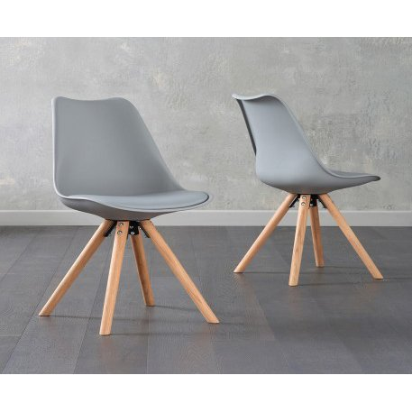 image-Oscar Light Grey Faux Leather Round Leg Dining Chairs