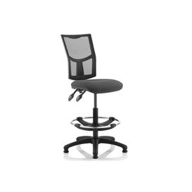 image-Lunar 2 Lever Mesh Back Draughtsman Chair (No Arms), Charcoal