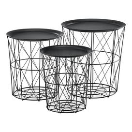 image-Amadahy 3 Piece Nest of Tables Ebern Designs Colour: Black