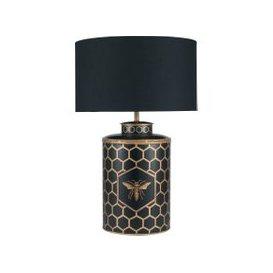 image-Black Honeycomb Table Lamp, Metal