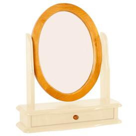 image-Loring Oval Dressing Mirror Marlow Home Co. Colour: Cream/Pine