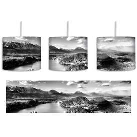 image-Lake Landscape 1-Light Drum Pendant East Urban Home Shade Colour: Black/White