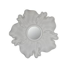 image-Flower Glossy White Sunburst Wall Mirror - 118.5cm x 6.5cm
