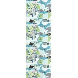 image-Noise absorbing wall tapestry SVERIGERESAN, 650x2200 mm, cityscape, green