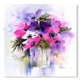 image-'Anemone Vase' by Rachel McNaughton - Graphic Art Print on Canvas East Urban Home