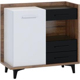 image-Reagan 3 Drawer Combi Chest Ebern Designs Colour: Craft Tobacco/White/Black