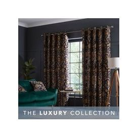 image-Betsy Black Eyelet Curtains Black, Brown and Yellow