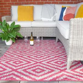image-Vibrant Pink Geometric Indoor Outdoor Rugs  - Habitat