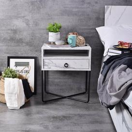 image-Hestleton 1 Drawer Bedside Table Ebern Designs Colour (Top): White