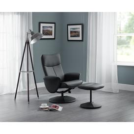 image-Lucus Black Faux Leather Swivel and Recline Chair