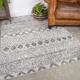image-Scandi Geometric Grey Rug - Oscar