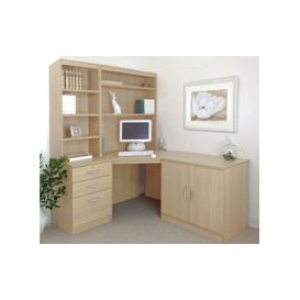 image-Small Office Corner Desk Set With 3 Drawers, Cupboard & Hutch Bookcases, Beech, Free Standard Delivery